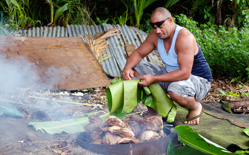 A traditional Polynesian oven is dug in the ground.<br/><small>©Shutterstock/ChameleonsEye</small>